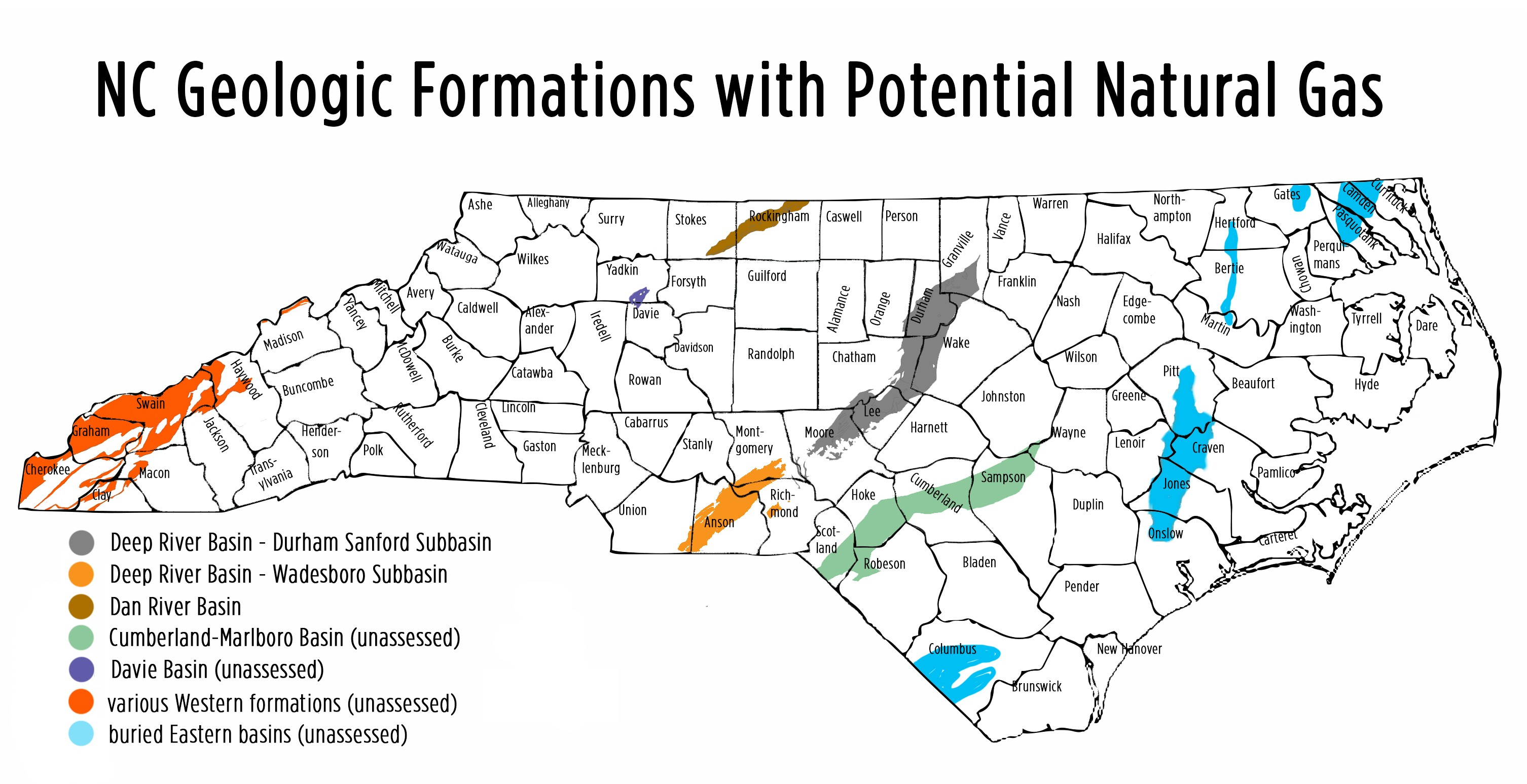 Map Potential Impacts From Fracking In NC Frack Free NC - Map in north carolina